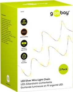 2 x Silver wire light chain with 20 LEDs, incl. timer