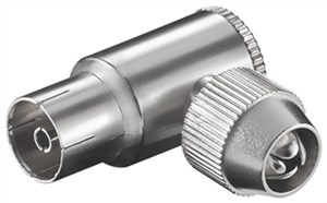 Coaxial angled socket with screw fixing