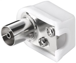 Coaxial angled socket with screw fixing; compact