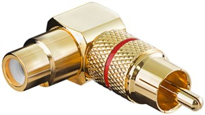 RCA adapter 90°; gold version; red