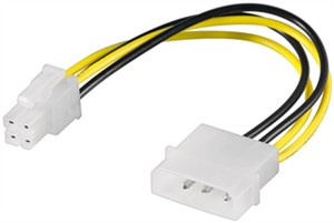 PC power cable/adapter; 5.25 inch male to ATX12 P4; 4-pin