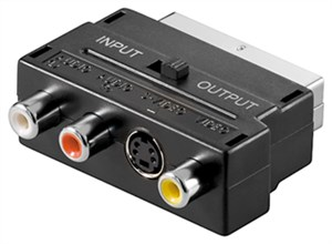 SCART to composite audio/video and S-Video adapter; IN/OUT