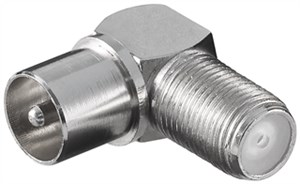Angle adapter: F female > Coaxial male 90°