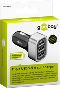 USB car charger with three USB ports and max. 16.5W/5.5A (12/24V)