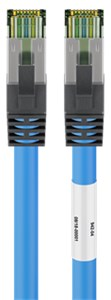 RJ45 (CAT 6A, 500 MHz) patch cord with CAT 8.1 S/FTP raw cable, blue