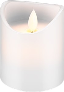 LED white real wax candle, 7.5 x 10 cm