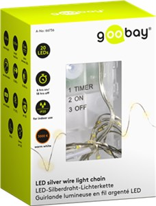 Silver wire light chain with 20 LEDs, incl. timer