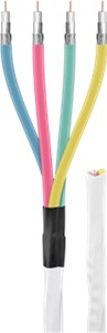 80 dB Quattro coax- antenna cable, 2x shielded, CCS, white