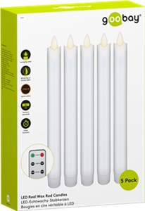 Set of 5 white LED real wax rod candles, incl. remote control