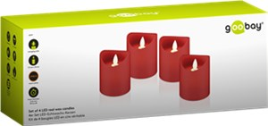Set of 4 LED real wax candles, red