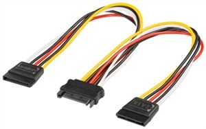 PC Y power cable/adapter; SATA 1x male to 2x female
