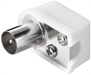 Coaxial angle plug with screw fixing; compact