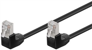 CAT 5e patchcable 2x 90°angled, F/UTP, black