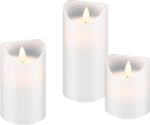 Set of 3 LED real wax candles, white