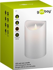 LED white real wax candle, 10 x 15 cm